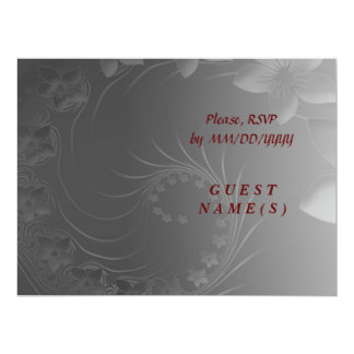 RSVP - Dark Gray Abstract Flowers 6.5x8.75 Paper Invitation Card