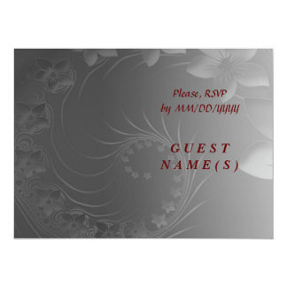 RSVP - Dark Gray Abstract Flowers 5.5x7.5 Paper Invitation Card