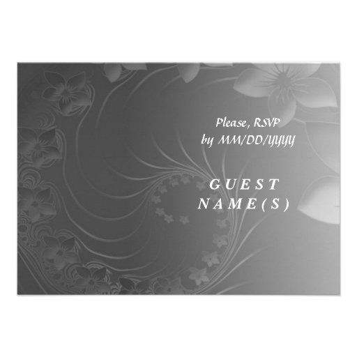 RSVP - Dark Gray Abstract Flowers Personalized Invitation