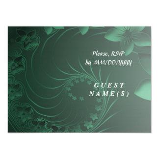 RSVP - Dark Green Abstract Flowers Card