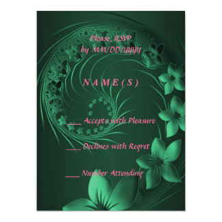 RSVP - Dark Green Abstract Flowers 6.5x8.75 Paper Invitation Card