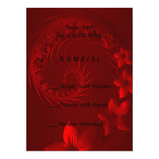 RSVP - Dark Red Abstract Flowers Card
