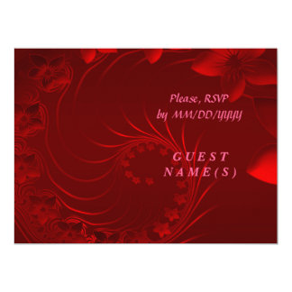 RSVP - Dark Red Abstract Flowers 6.5x8.75 Paper Invitation Card