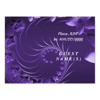 RSVP - Dark Violet Abstract Flowers Card