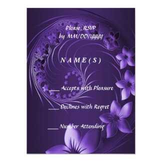 RSVP - Dark Violet Abstract Flowers 6.5x8.75 Paper Invitation Card
