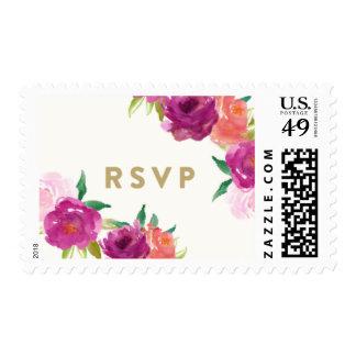 RSVP de la esquina atractivo floral Sellos Postales