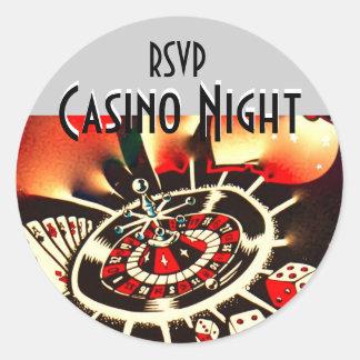 Rsvp de la noche del casino etiquetas redondas