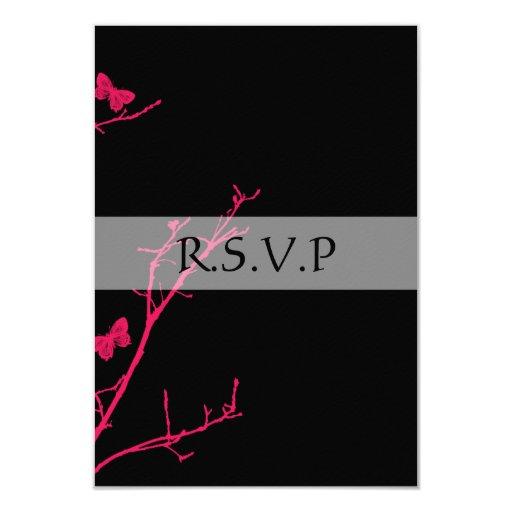 """rsvp de las rosas fuertes y del negro invitación 3.5"""" x 5"""""""