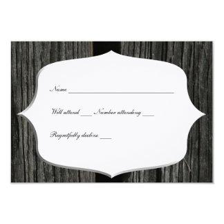 """Rsvp de madera de la puerta de granero del país invitación 3.5"""" x 5"""""""