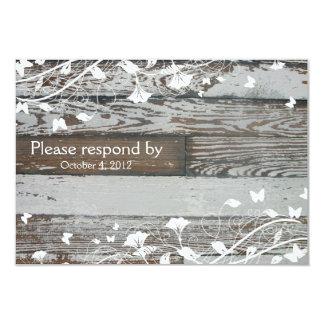 """RSVP de madera viejo con el sobre--blanco Invitación 3.5"""" X 5"""""""
