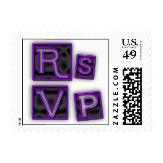 RSVP de moda en los bloques de neón de la púrpura Franqueo