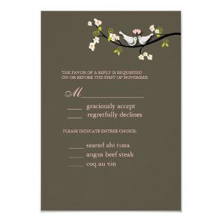 "Rsvp de PixDezi, palomas en rama de las flores de Invitación 3.5"" X 5"""
