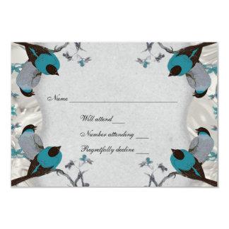 Rsvp de plata de los pájaros azules del vintage invitación