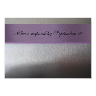 """Rsvp de plata y púrpura con el sobre invitación 3.5"""" x 5"""""""