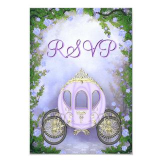 """RSVP de princesa Carriage Enchanted púrpura Invitación 3.5"""" X 5"""""""