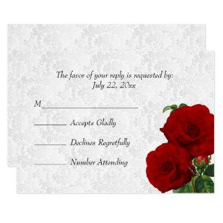 RSVP Deep Red Rose Floral Wedding Card