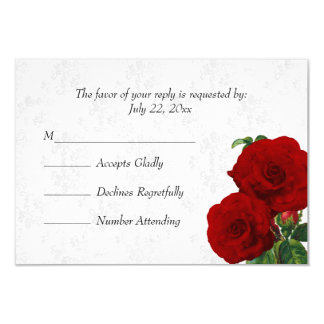 RSVP Deep Red Rose Floral Wedding Card