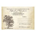 rsvp del árbol del vintage viejo para casar diseño invitacion personalizada