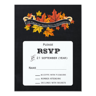 Rsvp del boda de la caída de la pizarra del invitación 10,8 x 13,9 cm