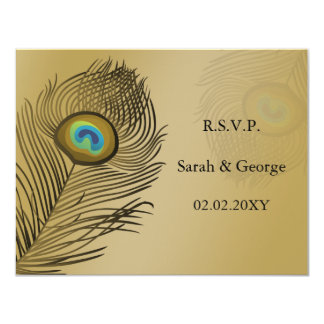 """rsvp del boda del pavo real del oro invitación 4.25"""" x 5.5"""""""