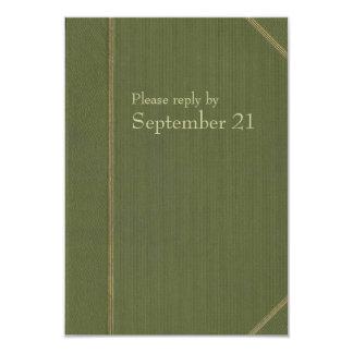 """Rsvp del Libro verde del vintage Invitación 3.5"""" X 5"""""""