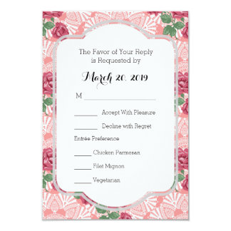 RSVP Delicate Country Chic Rose Lace Wedding Suite Card