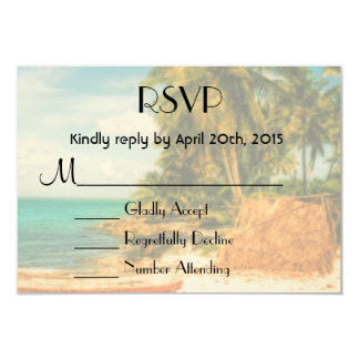 RSVP Dreamy Tropical Beach with Rowboat 3.5x5 Paper Invitation Card