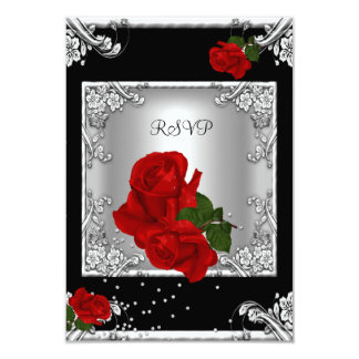 RSVP Elegant 50th Birthday Party Red Rose Silver 3.5x5 Paper Invitation Card