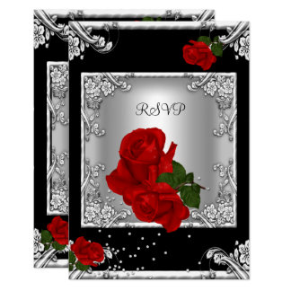 RSVP Elegant 50th Birthday Party Red Rose Silver Card