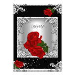 RSVP Elegant 50th Birthday Party Red Rose Silver Custom Invitations