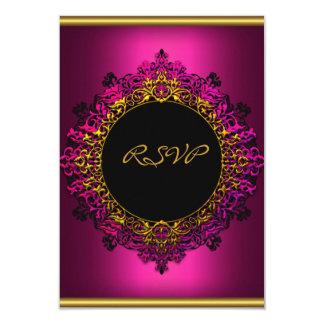 "RSVP Elegant Birthday Party Dark Pink Black Gold 3.5"" X 5"" Invitation Card"