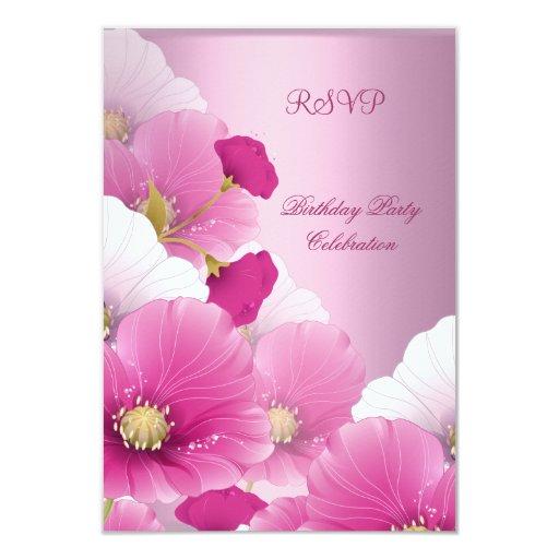 RSVP Elegant Birthday Party Pink White Poppies 3.5x5 Paper Invitation Card