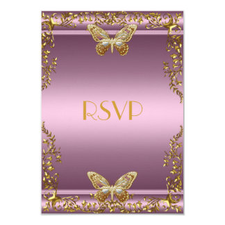 RSVP Elegant Birthday Pink Gold Butterfly Card