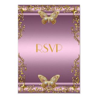 RSVP Elegant Birthday Pink Gold Butterfly Card