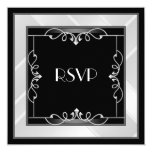 RSVP Elegant Black Silver White Art Deco 5.25x5.25 Square Paper Invitation Card