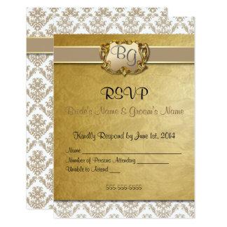 RSVP - Elegant Damask Latte' & Gold - 1 Card