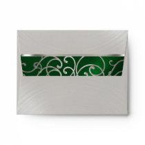 RSVP Elegant Emerald Green Silver Filigree Envelope