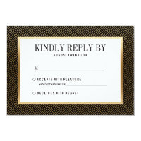 RSVP | Elegant Formal Golden Geometric on Black Card
