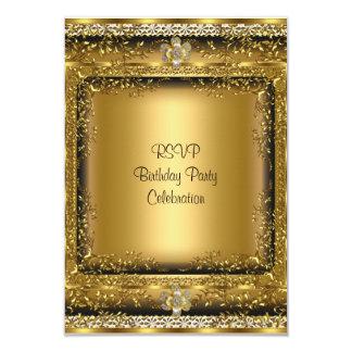 "RSVP Elegant Gold Black Cream Birthday Party Jewel 3.5"" X 5"" Invitation Card"