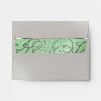 RSVP Elegant Mint Green Silver Filigree Envelope