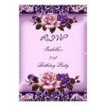 RSVP Elegant Pink Purple Lilac Rose Birthday Party Announcement