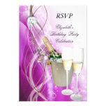 RSVP Elegant Pink Purple Silver Birthday Party Personalized Invite
