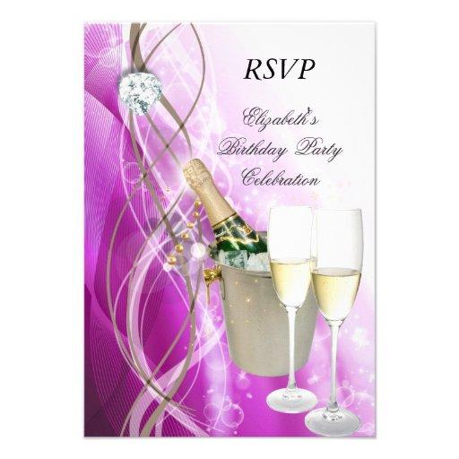 RSVP Elegant Pink Purple Silver Birthday Party Personalized Invite
