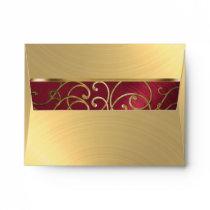 RSVP Elegant Red and Gold Filigree Envelope