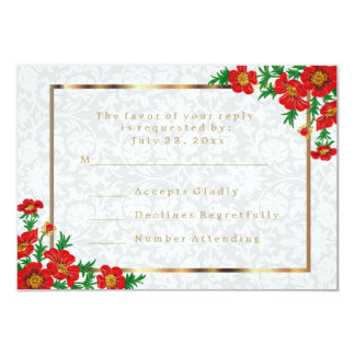 RSVP Elegant Red Poppy Flowers - Wedding Card