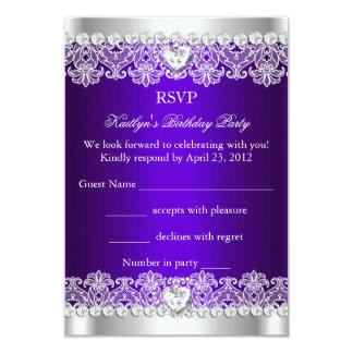 RSVP Elegant Royal Purple Lace Silk Birthday Party Personalized Invitation Card