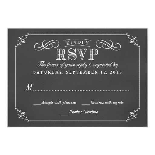 RSVP Elegant Rustic Vintage Chalkboard Wedding Custom Invitations