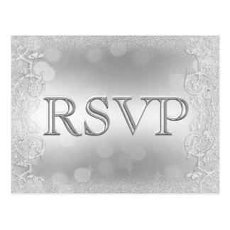 RSVP Elegant Silver Faux Glitter Postcard