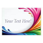 RSVP Elegant Swirling Rainbow Splash - 4 3.5x5 Paper Invitation Card