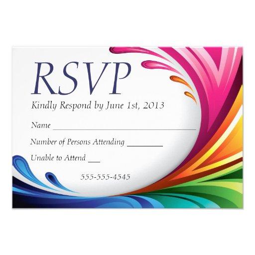 RSVP Elegant Swirling Rainbow Splash - 4 Personalized Announcement